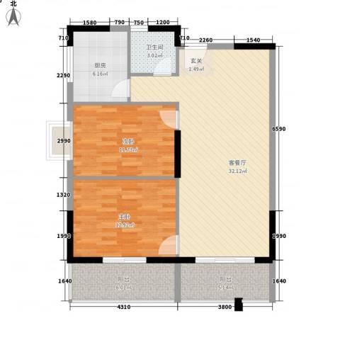 桂林日报社小区滨江国际2室1厅1卫1厨85.99㎡户型图