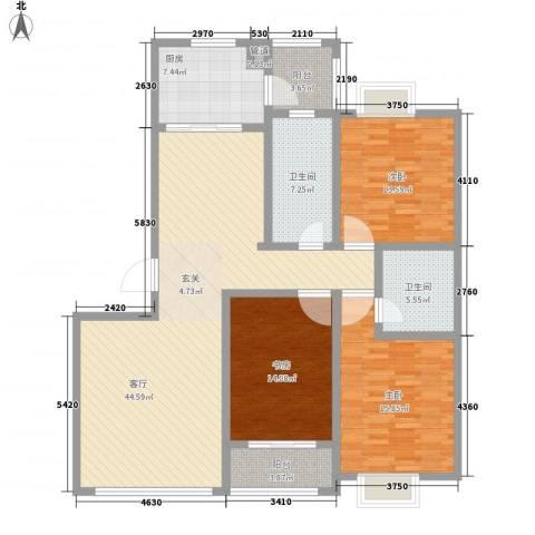 开元公寓3室1厅2卫1厨167.00㎡户型图