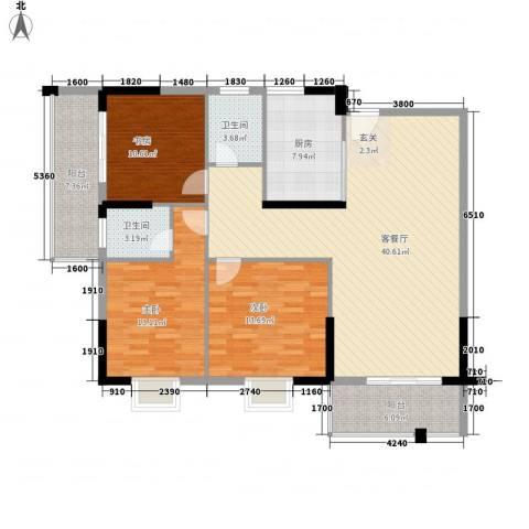 桂林日报社小区滨江国际3室1厅2卫1厨118.39㎡户型图