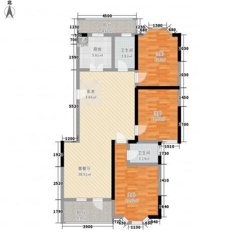 盛世华庭3室1厅2卫1厨145.00㎡户型图