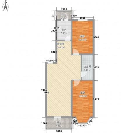 黎明家园2室1厅1卫1厨110.00㎡户型图