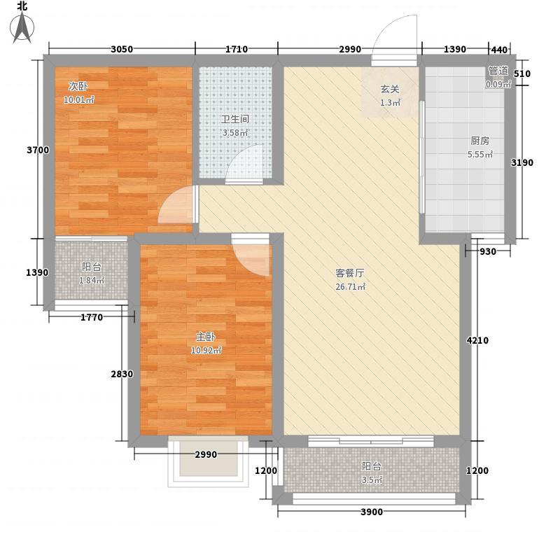 盛世桃城二区1.54㎡(已售罄)28#C户型2室2厅1卫1厨