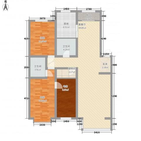 阳光苑3室1厅2卫1厨144.00㎡户型图