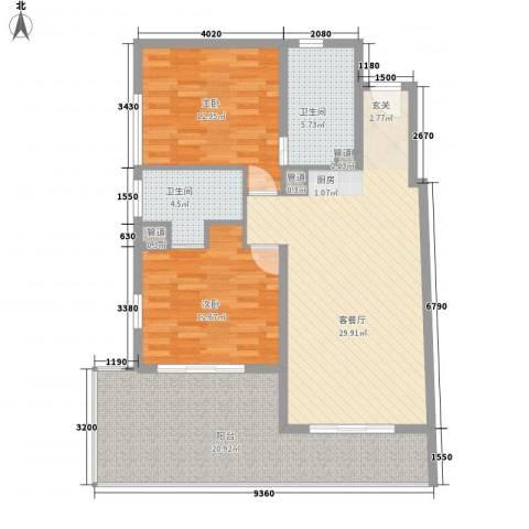 Aloha清水湾2室1厅2卫0厨123.00㎡户型图