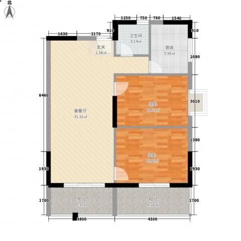 桂林日报社小区滨江国际2室1厅1卫1厨76.71㎡户型图