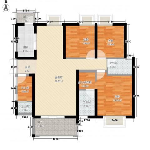 南昌华南城3室1厅3卫1厨124.00㎡户型图