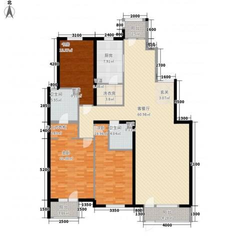 观筑庭园公寓3室1厅2卫1厨212.00㎡户型图