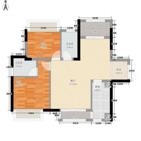 融创御锦2室1厅2卫1厨62.29㎡户型图