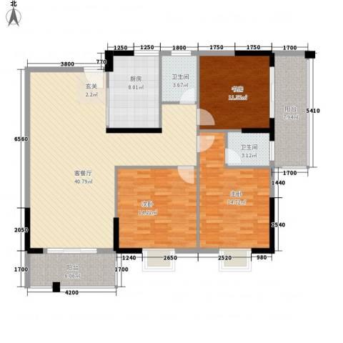 桂林日报社小区滨江国际3室1厅2卫1厨133.00㎡户型图