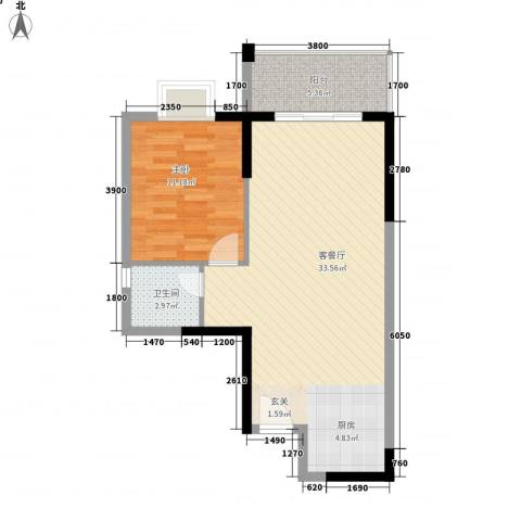 桂林日报社小区滨江国际1室1厅1卫0厨59.30㎡户型图
