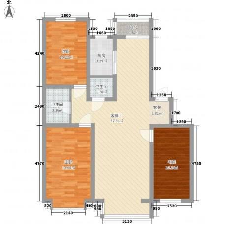 阳光苑3室1厅2卫1厨117.00㎡户型图