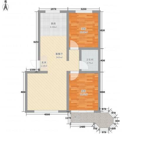 戴河新城2室1厅1卫0厨66.15㎡户型图