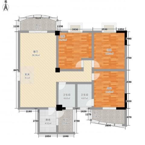 联升佳苑3室1厅2卫1厨154.00㎡户型图