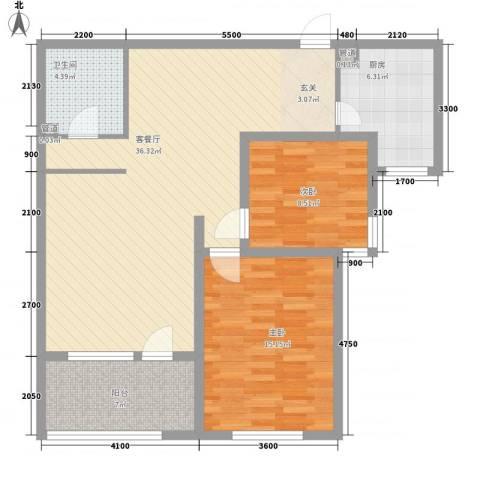 团结湖北四条2室1厅1卫1厨111.00㎡户型图