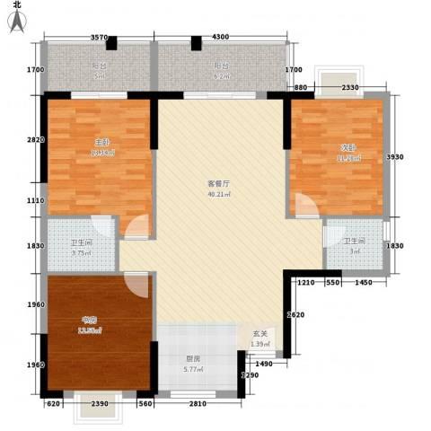 桂林日报社小区滨江国际3室1厅2卫0厨106.07㎡户型图