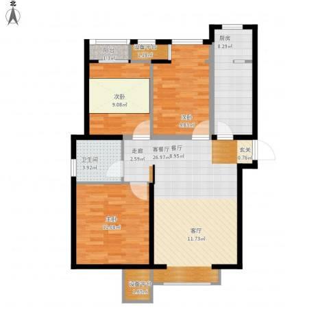 世茂英郡3室1厅1卫1厨105.00㎡户型图