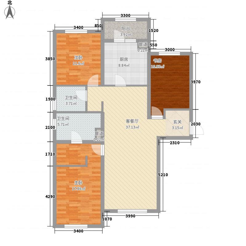富力城14.00㎡A8、A9、A10、A11号楼F户型3室2厅2卫1厨