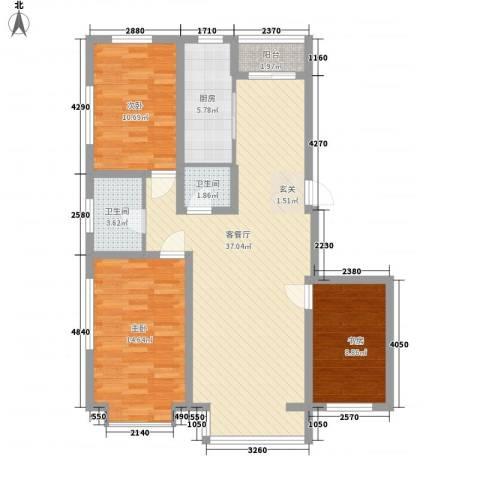 阳光苑3室1厅2卫1厨120.00㎡户型图