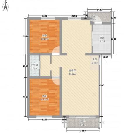 健康阳光城2室1厅1卫1厨101.00㎡户型图
