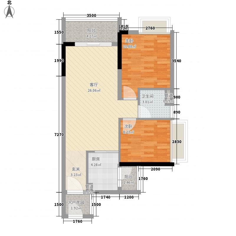 保利・罗兰国际75.00㎡1栋05单元户型2室2厅2卫1厨