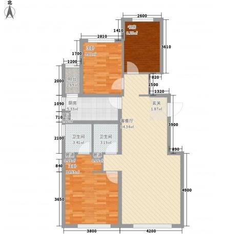 富力城3室1厅2卫1厨115.00㎡户型图