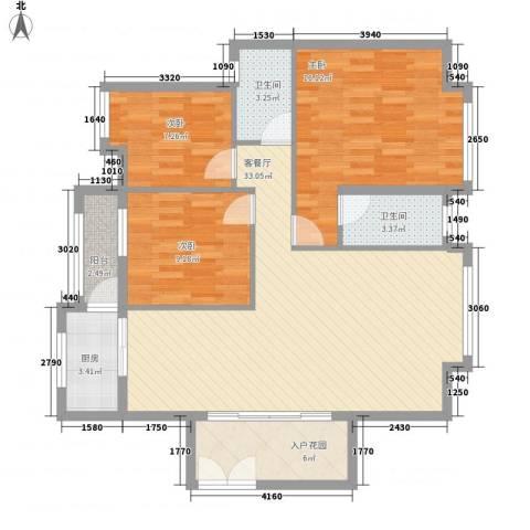 名汇城市花园3室1厅2卫1厨95.49㎡户型图