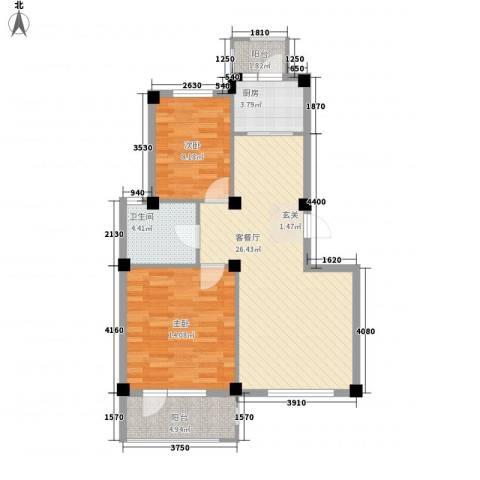 汤泉香格里2室1厅1卫1厨90.00㎡户型图
