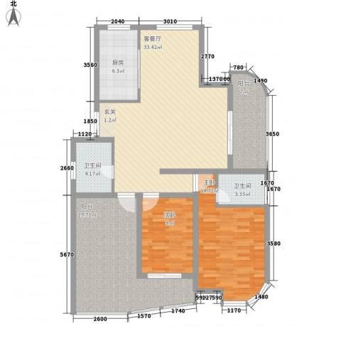 紫鑫豪庭2室1厅2卫1厨138.00㎡户型图