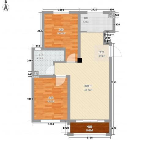 山河半岛3室1厅1卫1厨87.00㎡户型图
