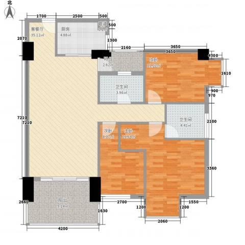 时尚国际3室1厅2卫1厨121.00㎡户型图