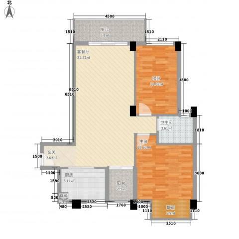 时尚国际2室1厅1卫1厨76.06㎡户型图