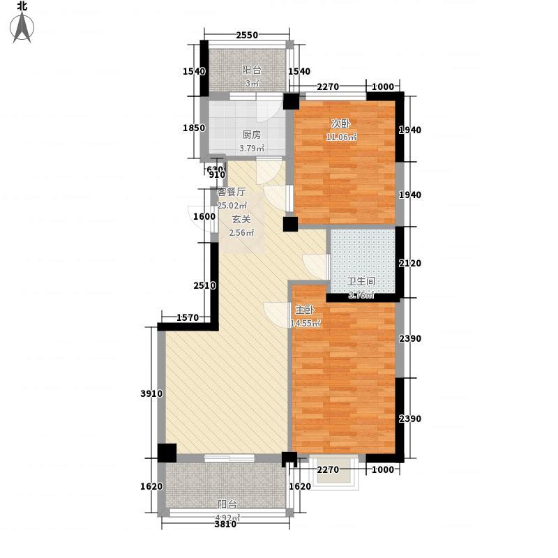 康乐花园103.60㎡6号楼中间单元东户户型2室2厅1卫1厨