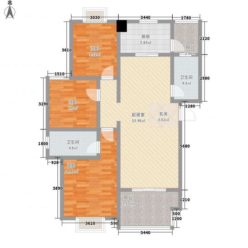 杜鹃城110.00㎡E型户型3室2厅2卫1厨