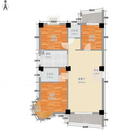 尚美花城3室1厅2卫1厨90.80㎡户型图