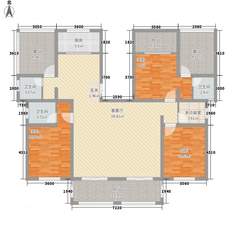 亿腾欧洲城173.40㎡花园洋房B8户型3室2厅3卫