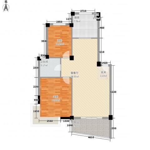雅豪苑2室1厅1卫1厨120.00㎡户型图