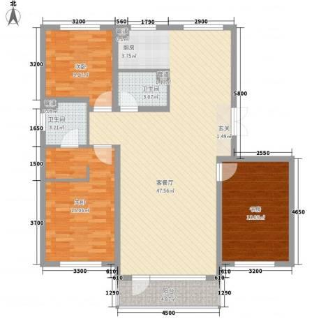 鑫港上上城3室1厅2卫0厨130.00㎡户型图