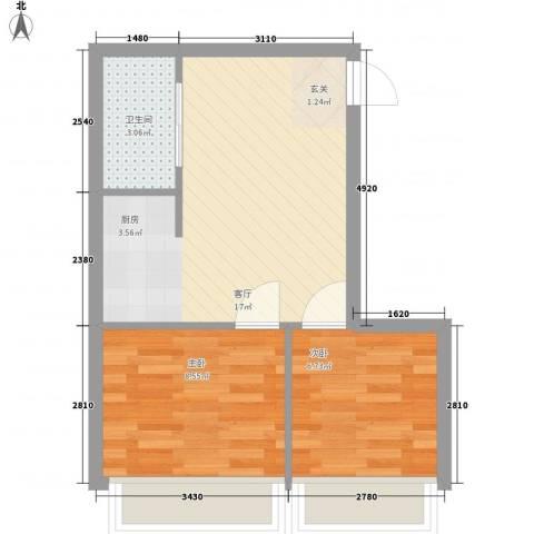 双D国际大厦(新青年国际)2室1厅1卫0厨50.00㎡户型图