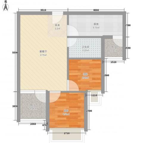 城果2室1厅1卫1厨43.11㎡户型图