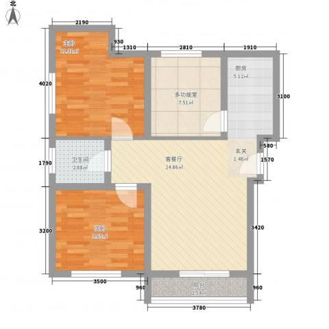 新科花苑2室1厅1卫0厨85.00㎡户型图