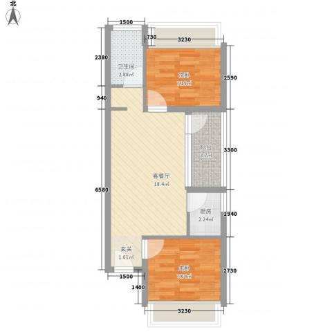 城果2室1厅1卫1厨60.00㎡户型图