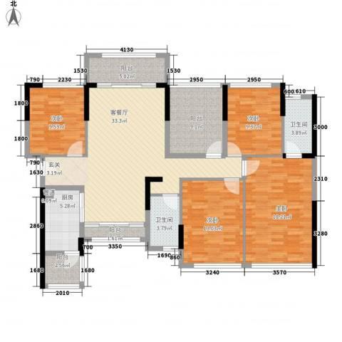 宏发上域4室1厅2卫1厨124.00㎡户型图