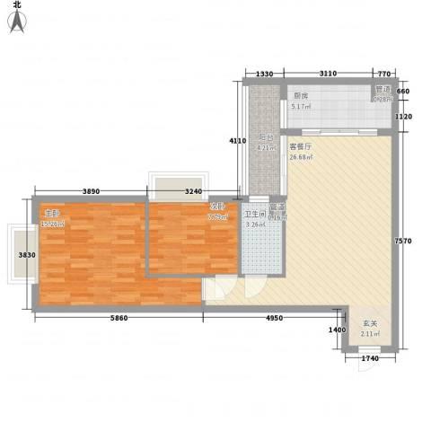 金湾畔2室1厅1卫1厨72.00㎡户型图