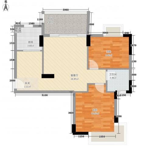湖畔春天2室1厅1卫1厨71.72㎡户型图