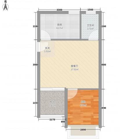 城果1室1厅1卫1厨57.00㎡户型图