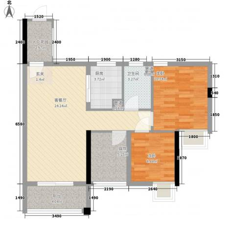 石排国际公馆2室1厅1卫1厨79.00㎡户型图