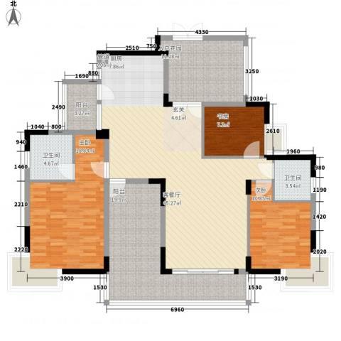 新长江顺心居3室1厅2卫0厨145.00㎡户型图