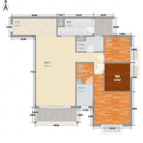 金湾畔3室1厅2卫1厨118.79㎡户型图