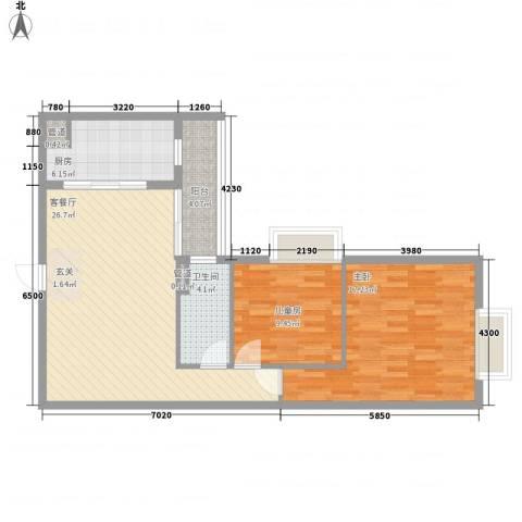 金湾畔2室1厅1卫1厨77.54㎡户型图