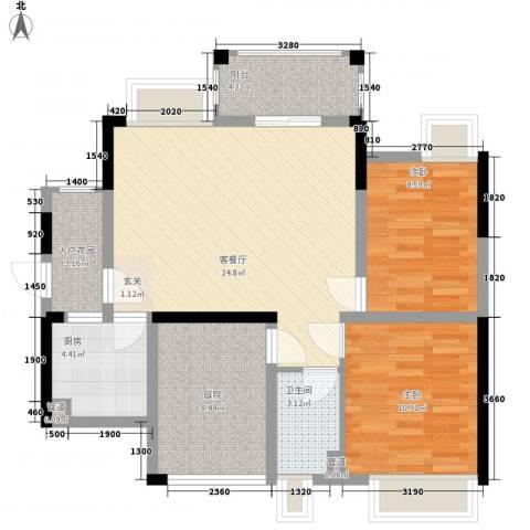 石排国际公馆2室1厅1卫1厨89.00㎡户型图